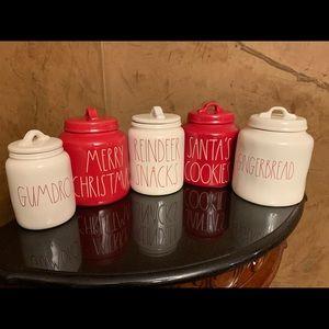 Rae Dunn Christmas canisters